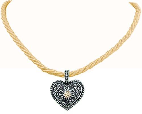 Kordel Halskette Mina mit Herz und Strass - (Kette Gold Trachten Schmuck)