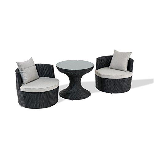 Bistro-Set - Polyrattan Gartenmöbel - 3er Set - Mit Kissen - Schwarz