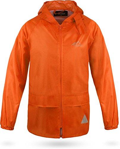 normani Outdoor Sports Kinder Wasserdichte Unisex Regenjacke Regenmantel mit Kapuze und 3M Reflektoren Farbe Orange Größe XL/158-164