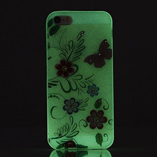 Etsue iPhone SE/5S/5 TPU Coque,Luminous Light Flexible Laser Reflect Blue Light Doux Housse pour iPhone SE/5S/5,Premium Slim TPU Gel Soft Back Cover Protecteur Coque Étui pour iPhone SE/5S/5,Rhineston Papillon rose, fleurs