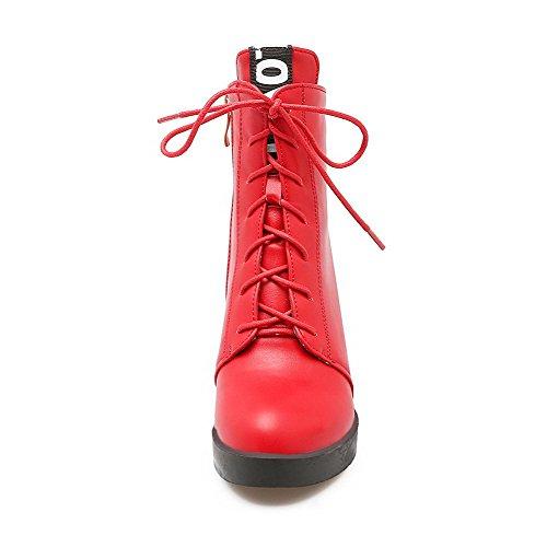 AgooLar Femme Couleurs Mélangées à Talon Haut Rond Matière Mélangee Zip Bottes Rouge