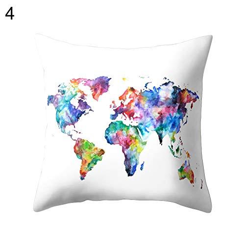 TWUJl4SXJ Funda De Almohada Decorativa del Mapa del Mundo De La Moda Funda De Cojín para El Hogar 4#...