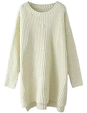 Camisetas de Manga Larga Vestido de Suéter Lado Dividida Jersey Para Mujer del Otoño del Invierno Beige S/M