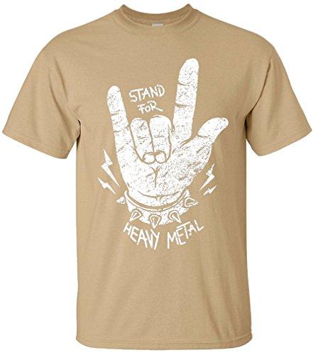 PAPAYANA - STAND-FOR-METAL - Herren T-Shirt - HEAVY METAL HARDROCK TRASH SPEED ROCK MUSIC Khaki
