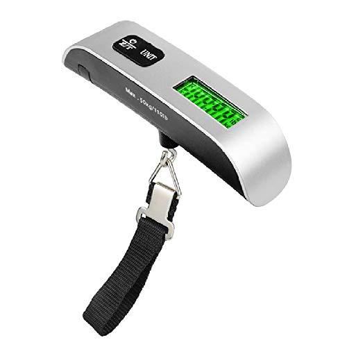 Tasche Elektronische Skala, 50kg Portable Electronic Gepäckskala, High Precision Sensor, LCD Display, mit Raumtemperatur Test,Silver