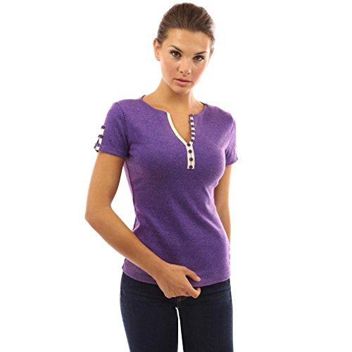 Lace Shaping Kurze (Longra Damen T-Shirt V-Shirts mit Knopfleiste Shaping Shirt Damen Sommer Kurzarm T-Shirt Elegante Blusenshirts Tunikashirts Shirttop Beachwear Strandshirt Frauen Sommer Oberteile (Purple, M))