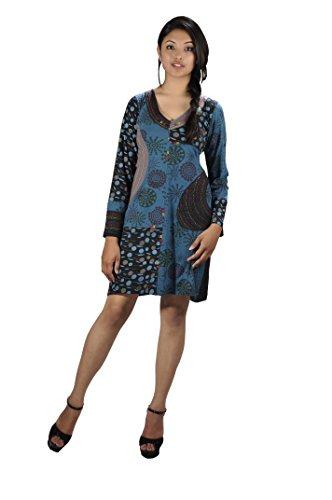 TATTOPANI Frauen volle Ärmel Kleid mit Stickerei - MAGNOLIA L