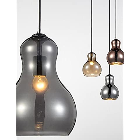 En Forma de Calabaza ZSQ/1/lámpara colgante moderna simplicidad/Luz/golden/cromo/oro rosa/Ámbar/gris ahumado/vidrio &Acero al carbono , 220-240 v-gris claro