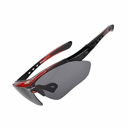 ROCKBROS Neue Polarisierte Brillen Fahrradbrillen Sportbrillen (Schwarz/Rot)