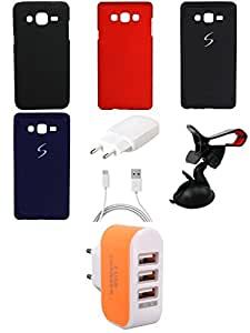 NIROSHA Cover Case Charger Mobile Holder for Samsung Galaxy ON7 - Combo