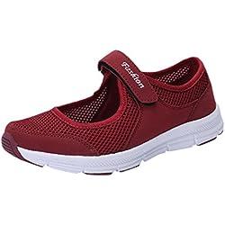 QinMM Zapatos Zapatillas Respirable Mocasines deportesMujer Sneaker Malla Plataforma Sandalias Casual Verano (38, Vino Rojo)