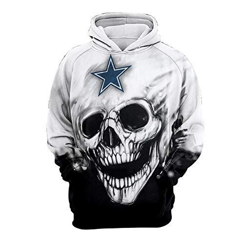 WYDHHLD Dallas Cowboys Unisex 3D-Skeleton Printed Hoodies Pullover Sweatshirts mit Taschen für Männer Frauen,S