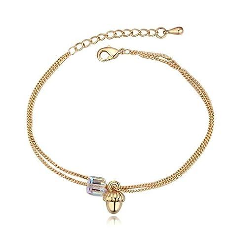 Aooaz Damen Versilbert Armband Rosa CZ Extender Armband Herz Anhänger Weiß CZ Armband Hochzeit