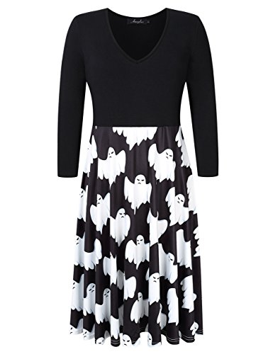 Zantec AMZ PLUS Frauen Plus Size Halloween Kostüme Print Splicing 3/4 Ärmel Swing Dress
