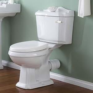 Toilette Complet WC Cuvette Réservoir - Design Rétro - Céramique Blanche Poignée Chasse d'Eau Chromé - 860 x 760 x 480 mm Lunette Abattant Couvercle Thermoplastique Frein de Chute