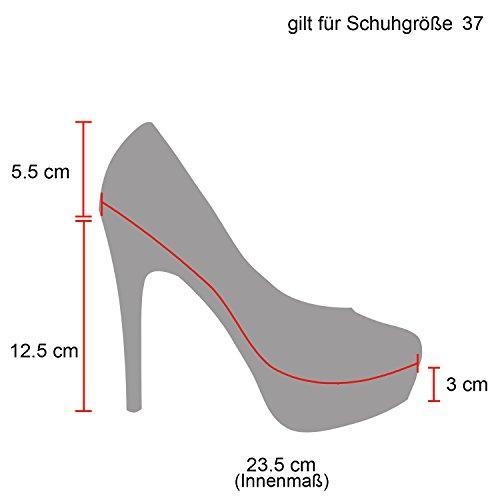 Damen High Heels Plateau Pumps Lack Party Velours Metallic Blockabsatz Schuhe 129783 Creme 38 Flandell