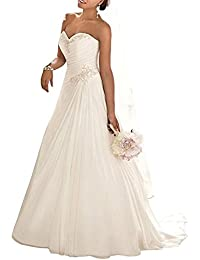 01a62c7738 ANJURUISI Sweetheart Applique Beaded Bride Gown Sexy Chiffon Beach Wedding  Dress