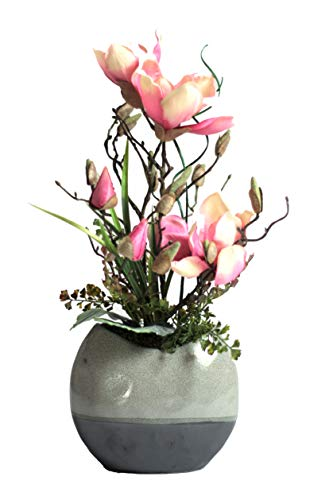 Liatris Floristik Magnolie mit rosa Blüten, hochwertige Kunstblume im stilvollen Keramik-Topf, Kunstpflanze wie echt, Moderne Dekoration 50 cm groß