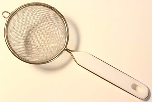 Teesieb Haushaltssieb klein Teeservice Tee Alltag Küche Haushalt handlich praktisch stabil robust nützlich komfortabel Kunststoff Edelstahl Rostfrei Weiß Durchmesser: 8 cm