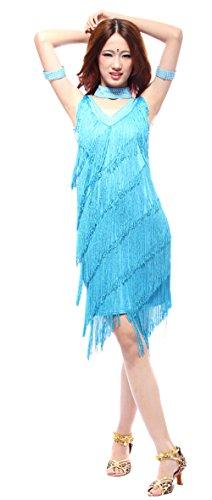 eiten Damen Ärmellos Quasten Swing Rhythmus Latin Dance Kleid ()