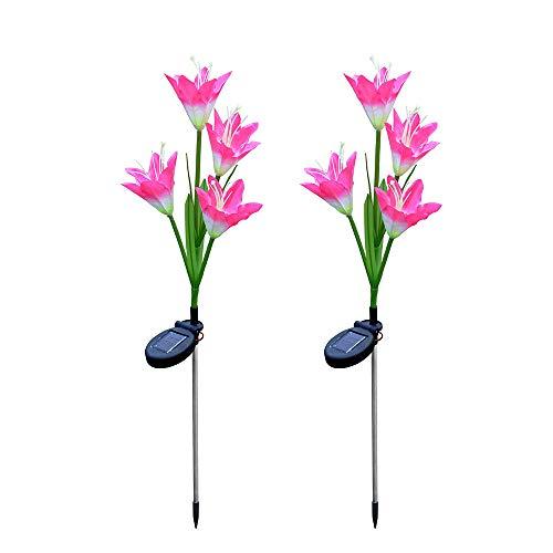 ar LED Garten Licht Lilienblume IP67 Wasserdichte Solar Rasen Gartenleuchten Energiesparend Umweltfreundlich Rasenlampe Hochzeit Party Halloween Xmas Außen Haus Deko (Rosa) ()