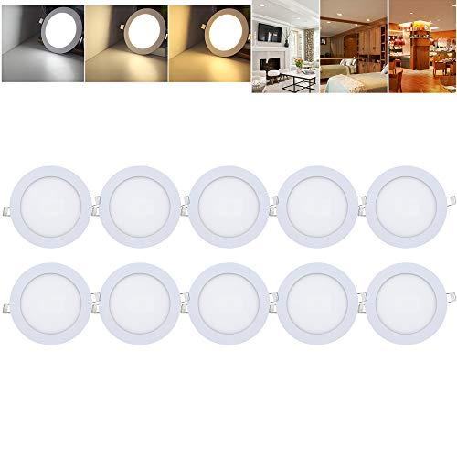 10 x 3 W Rund LED Panel Lichtfarbe Einaustrahler Deckenstrahler Ultraslim Farbwechsel 3 in 1 Dimmbar 3000-6500K [Energieklasse A++]