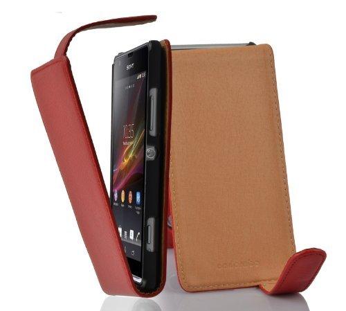 Cadorabo - Flip Style Hülle für Sony Xperia SP - Case Cover Schutzhülle Etui Tasche in INFERNO-ROT