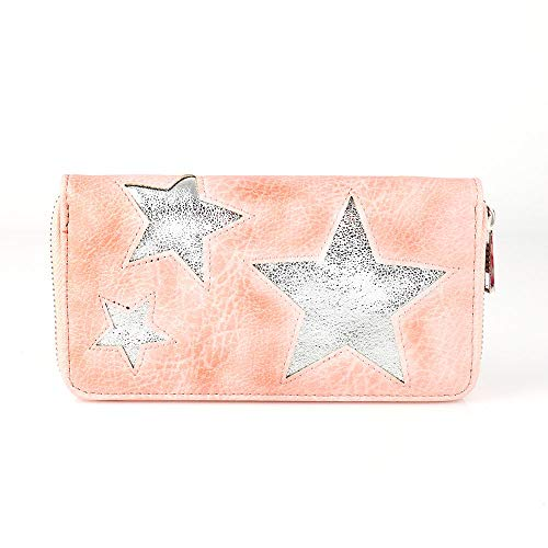 Treend24 Elegant Damen Geldbörse mit 1 Hauptfach Reißverschluss Glitzer Portemonnaie Geld Beutel Metallic Börse Brief Tasche (Rosa)