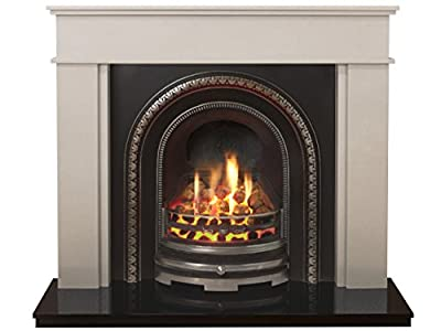 The Portland Fireplace Suite in Sparkly White with Bedford Back Panel Set and Gas Fire, 54 Inch