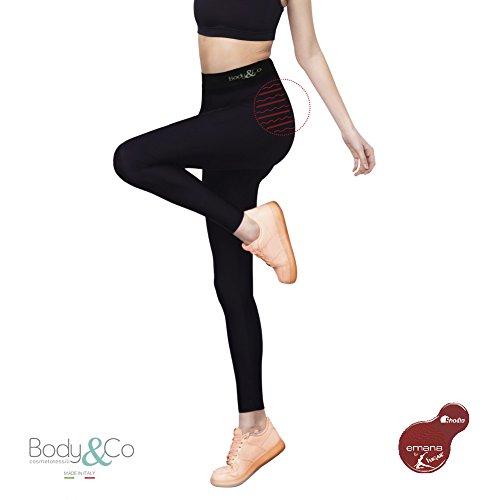 Body&Co Legging Sportivo con Fibra Emana Che Attiva Il microcircolo snellisce per Gambe Pesanti tonificante