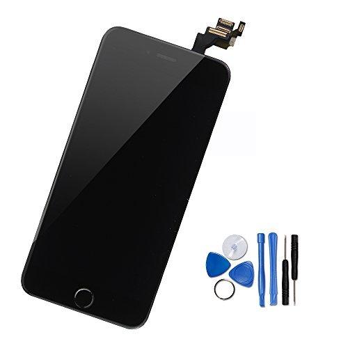 CD Touchscreen Digitizer Display für iPhone 6 vormontiert mit Home Button, Hörmuschel, Frontkamera& Näherungssensor Reparaturset KomplettErsatzbildschirm mit Werkzeuge (Schwarz) ()