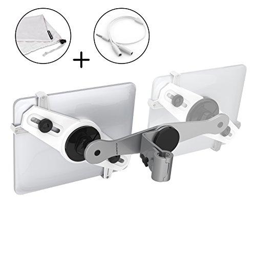 Auto-dvd-halter (Premium Aluminium KFZ Tablet-Halterung Auto von EvoFaktur - Kopfstützen-Halterung iPad im Set - Universal 7 bis 10,4 Zoll - Auch in der Mitte Platzierbar für Beste Sicht von Allen Rücksitzen)