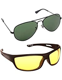 Magjons Fashion Combo Of Green Aviator & Yellow Night Driving Sunglasses