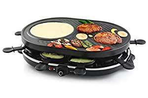 ovale raclette 4 en 1 multi grill avec fonction cr pe pour 8 personnes cuisine maison. Black Bedroom Furniture Sets. Home Design Ideas