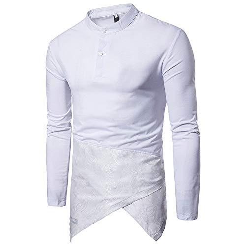 Männer Langarm T-Shirt Tops Herren POLO Neck Farbe Passende Oberteile Freizeit Revers Neck Backing Shirt Erwachsene ComfortSoft Langarm Tasten T-Shirt Herren T-Shirt Tops ( Farbe : Weiß , Größe : XL )