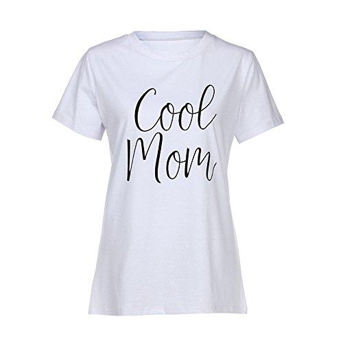 Cinnamou Mode Maman Et Bébé Enfants Garçons Filles Manches Courtes Lettre T-Shirt Blouse Famille Vêtements La Robe De T-Shirt De Lettres à Manches Courtes (Mom, S)