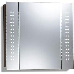 Armario de baño con espejo iluminado por LED C19 con sistema antivayo, interruptor para máquina de afeitar y sensor y luces LED 60 cm (altura) x 65 cm (anchura) x 12 cm (profundidad)