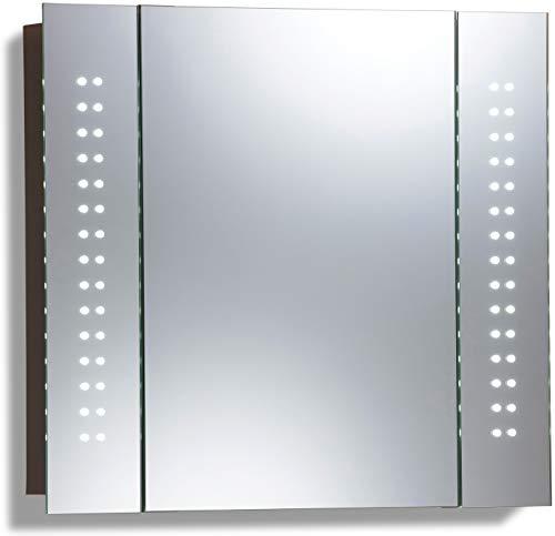 #LED beleuchteter Badezimmer Spiegelschrank (Tageslichtweiß bei 6500K) TÜV geprüft mit Antibeschlag-Pad ohne sichtbare Kabel, Steckdose, Sensor-Schalter und LED-Lichter 60cm x 65cm x12cm (HxBxT) C19#