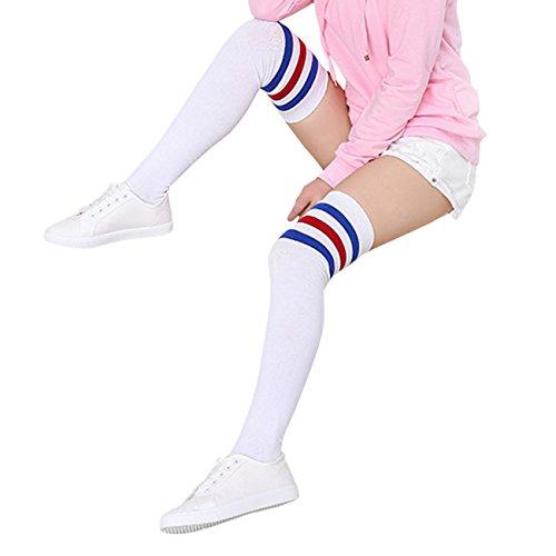 (THEE Damen Winter Warme Überknie Strümpfe Baumwollstrümpfe Retro Lange Socken Overknee College Schüler Mädchen Sportsocken Über Kniestrümpfe mit drei Streifen blau)