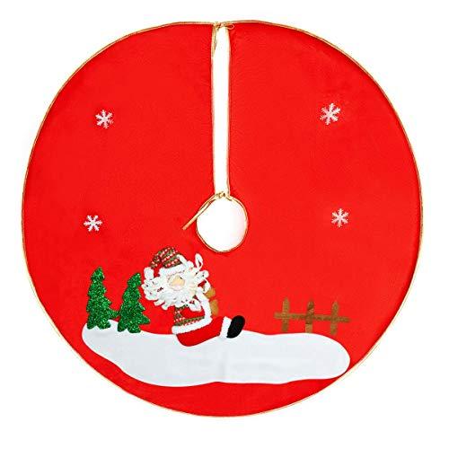 QILICZ Weihnachtsbaum Rock, Weihnachtsbaumdecke 3D Schneemann Baum Rock Christbaumständer Geschenkdecke Dekoration Weinachten Tannenbaum Dekorationen Baumdecke Ø 90cm