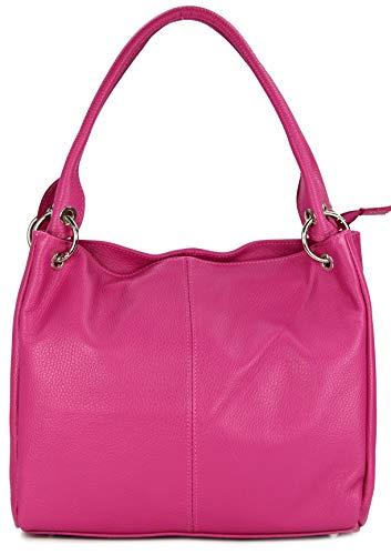Belli ital. Leder Schultertasche Damentasche Handtasche Shopper Lilly in pink - 33x28x14 cm (B x H x T) - Rosa Leder Damen Aktentasche