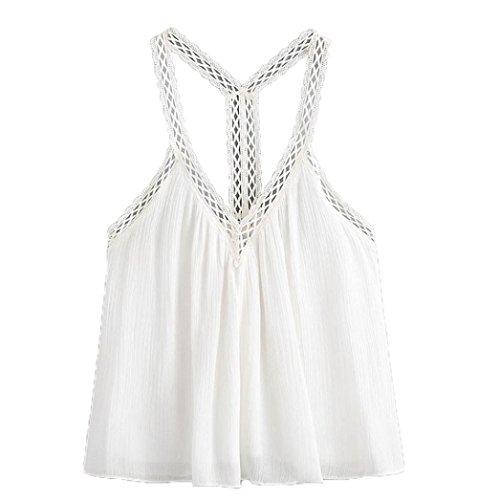 Manadlian - T-shirts,Gilet Femmes Crop Top Vest Tank Shirt Chemisier Cami Top Casual sans Manches