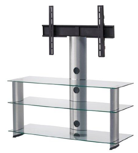 SONOROUS PL2130 TG TV-Möbel mit 3 Ablagen und TV-Halterung. Transparentes Glas/graues Gestell Breite 120 cm.