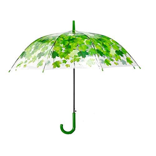 Queen Boutiques Leicht zu Falten Blatt-Ahornblatt-gerader Griff verdicken Männer und Frauen Prinzessin Transparent Durable Umbrella Regen- und Winddicht (Color : H)