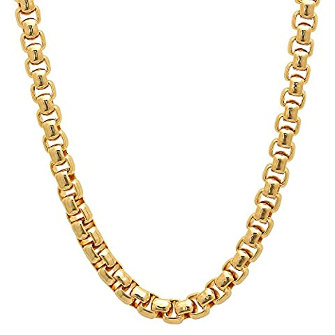 6mm 14k Gold Plated Rounded Box Chain Necklace, 60