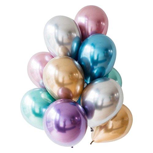 Enfei 50 stücke 11 Zoll New Metallic Doppel Latex Luftballons Dicke Pearly Metall Chrome Alloy Farben Foto Hochzeit Dekoration Ballons (Latex Ballons 11)