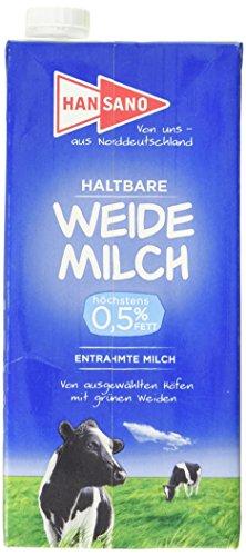 Preisvergleich Produktbild Hansano Haltbare Weidemilch 0.5% Fett,  Leckere H-Milch von den grünen Wiesen Norddeutschlands,  1 l