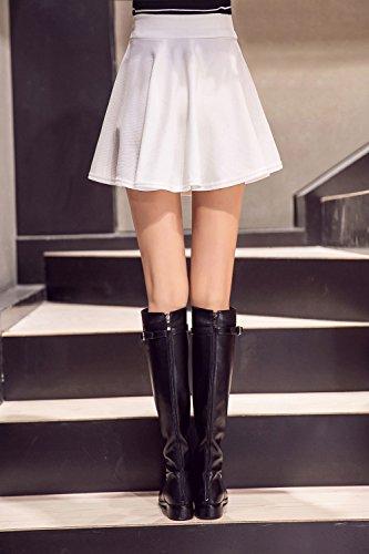 Kemousen Damen Röcke A-Linie Vielseitige Dehnbaren Basic Solid Freizeit Mini Skater Rock Weiß