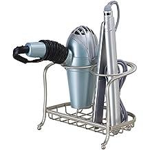 mDesign Soporte para secador, plancha de pelo o rizador - Organizador para baño de sus productos de peluqueria – Elegante soporte para plancha, secador de pelo o cepillos, en acero inoxidable