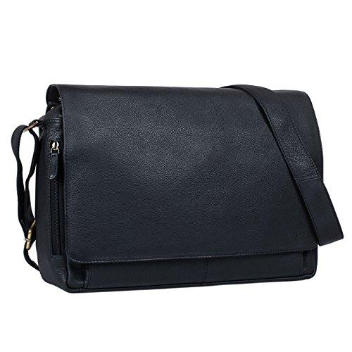 STILORD 'Tom' Borsa a tracolla in pelle da uomo donna Vintage Cartella porta PC 15 pollici documenti Messenger casual da viaggio in cuoio, Colore:nero